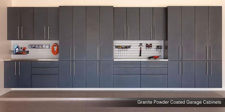 Granite Powder Coated Custom Garage Cabinets