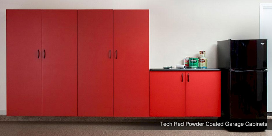 Tech Red Powder Coated Custom Garage Cabinets